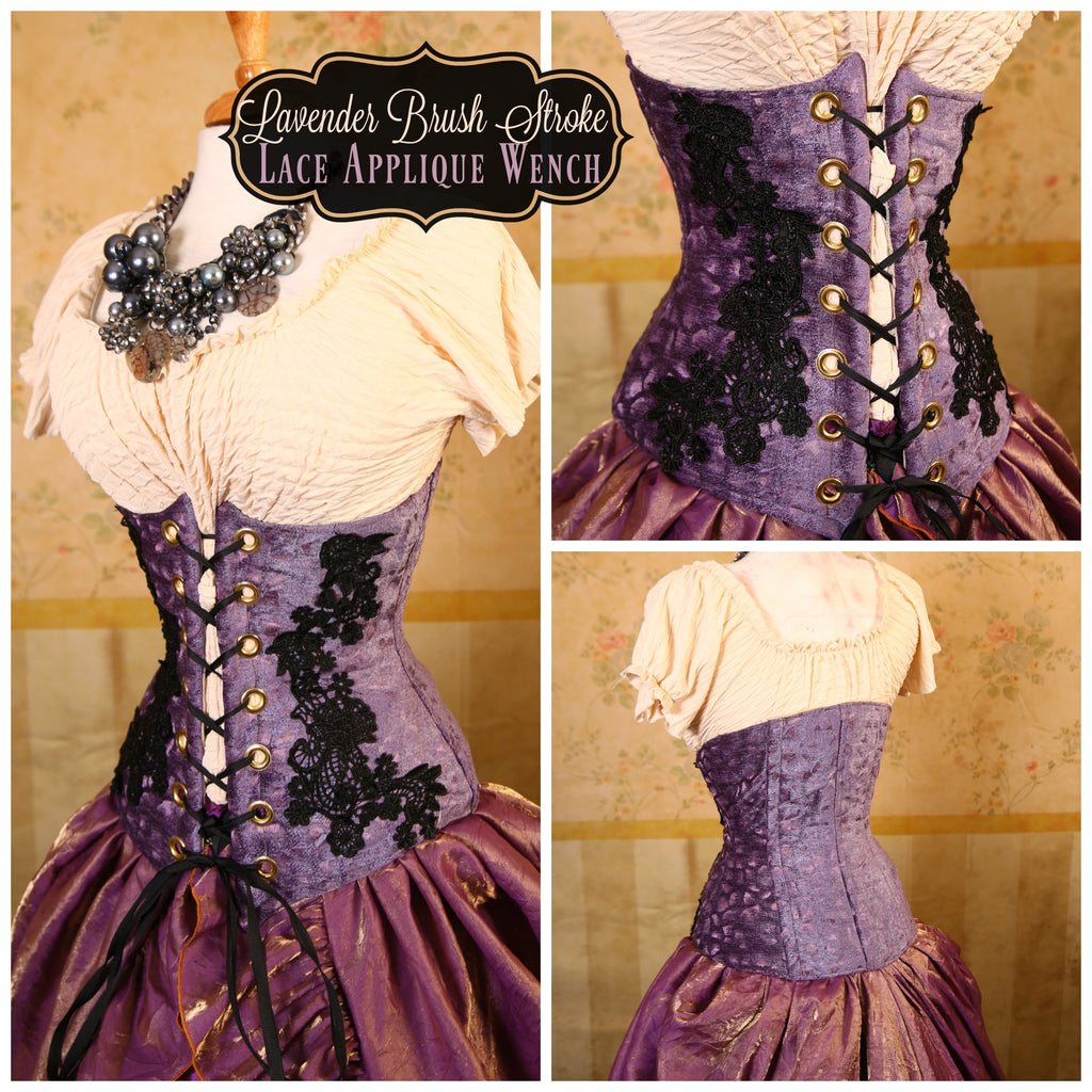 Lavender Brush Strokes with Lace Applique Wench Corset