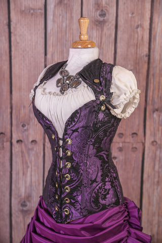 Purple and Black Medallion- Voyager Corset -NEW Foldover Collar Design!