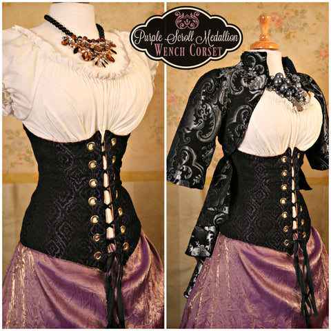 Purple Scroll Medallion Wench Corset