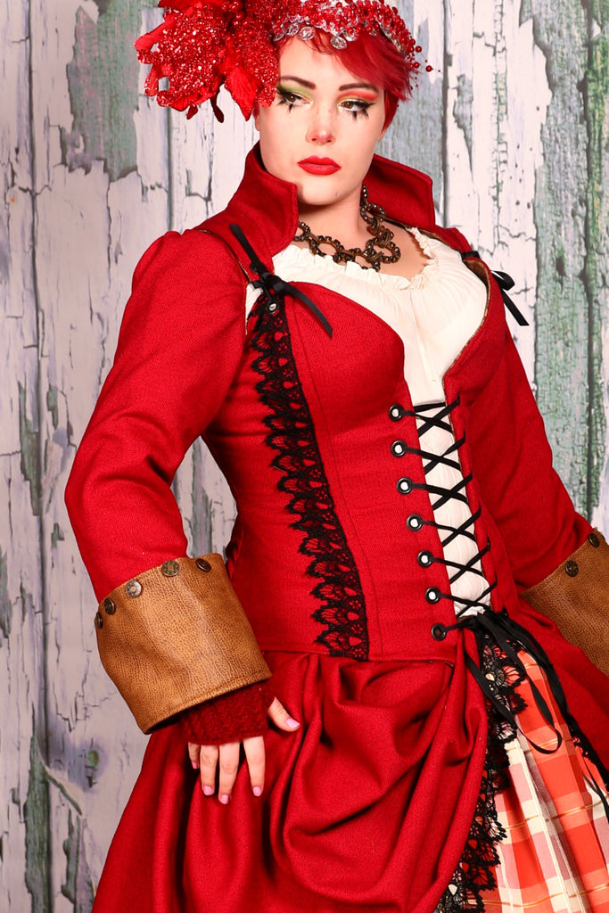 Buccaneer Sleeves in Inevitable Red with Brown Faux Leather Cuffs