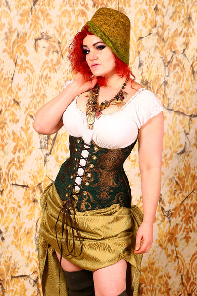 Torian Corset in Emerald and Gold Medallion