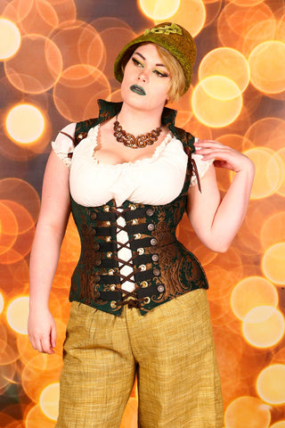 Emerald and Gold Medallion Vixen Corset with Buttons and Trim - RA2