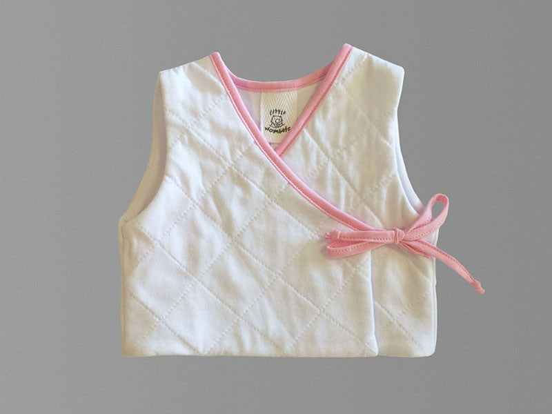 Little Wombats White Organic Cotton Quilted Vest