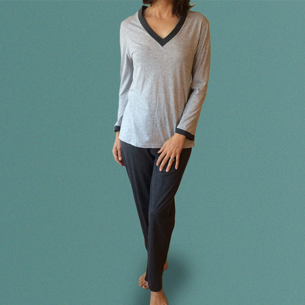 Winter Organic Cotton PJ Set Grey and Charcoal Marle