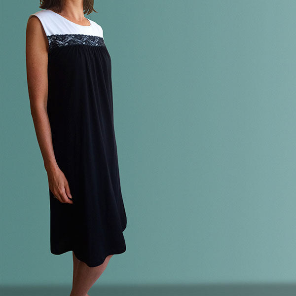 Mornington Organic Cotton Nightgown - Black&White