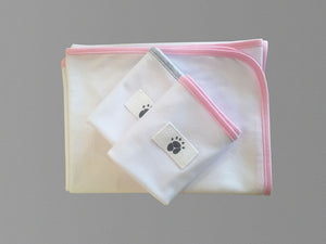 Little Wombats Organic Cotton Lightweight Blanket with 2 Double Layered Burp Cloths