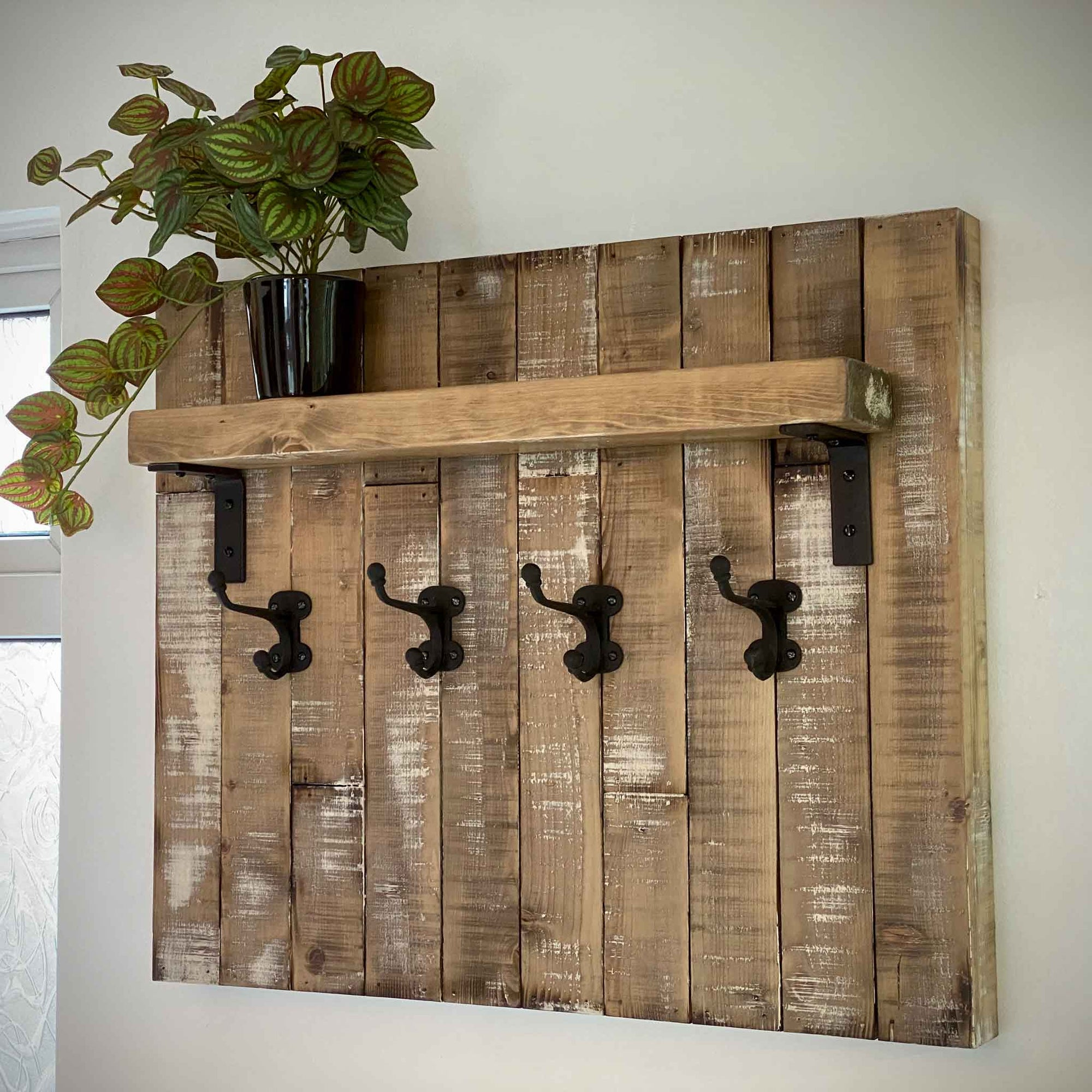 Rustic coat hook panel