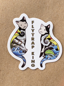 "Tattoo cats, 2"" x 2"" vinyl sticker"
