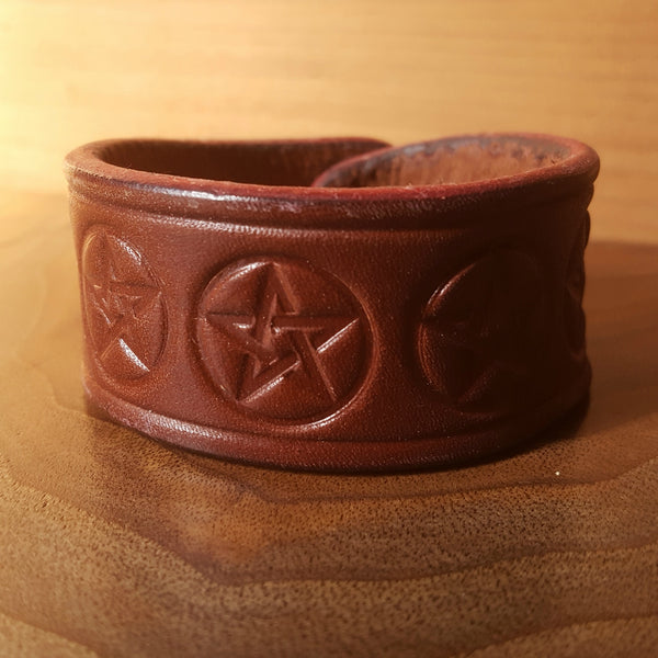 Pentagram Leather Cuff Bracelet - Various Styles