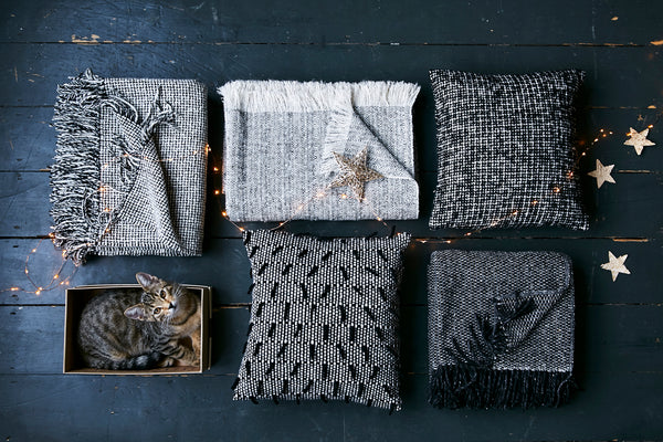 Mourne Textiles Gift Ideas - Monochrome Blankets and Cushions