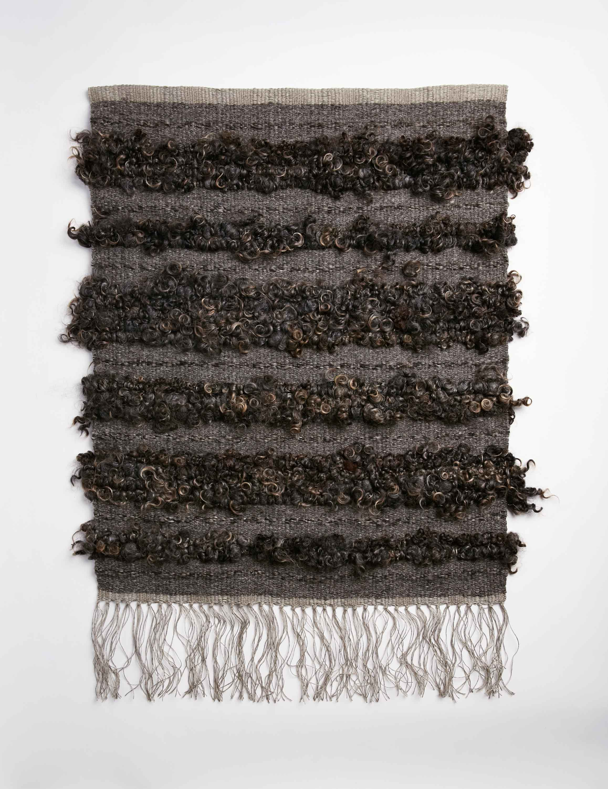 Raw Fleece Wall Hanging - Blackened Peat