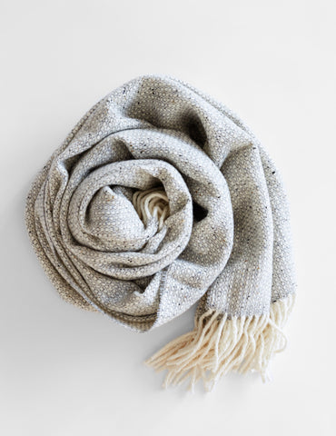 Tweed Emphasize Scarf - Silver Grey - Wide
