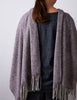Tweed Emphasize Scarf - Dusty Aubergine - Wide/Purled Fringe
