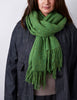 Tweed Emphasize Scarf - Green - Wide/Purled Fringe