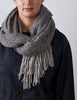Tweed Emphasize Scarf - Slate - Wide/Purled Fringe