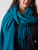 Tweed Emphasize Scarf - Soft Blue - Wide/Purled Fringe