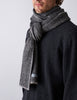 Textured Herringbone Scarf - Black / Grey - Narrow