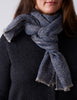 Textured Herringbone Scarf - Blue / Grey - Narrow