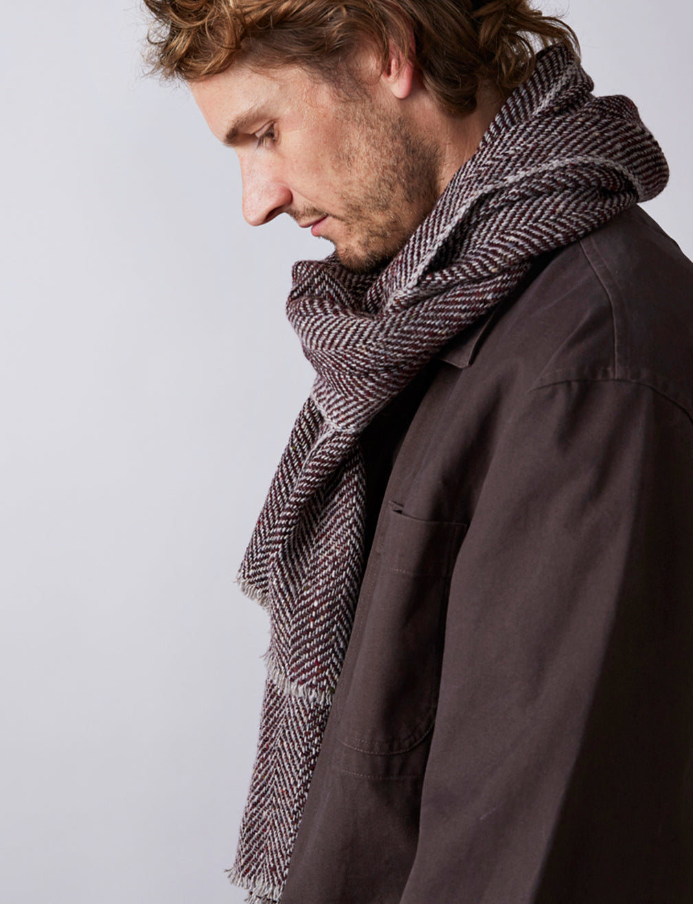 Textured Herringbone Scarf - Brown / Grey - Narrow