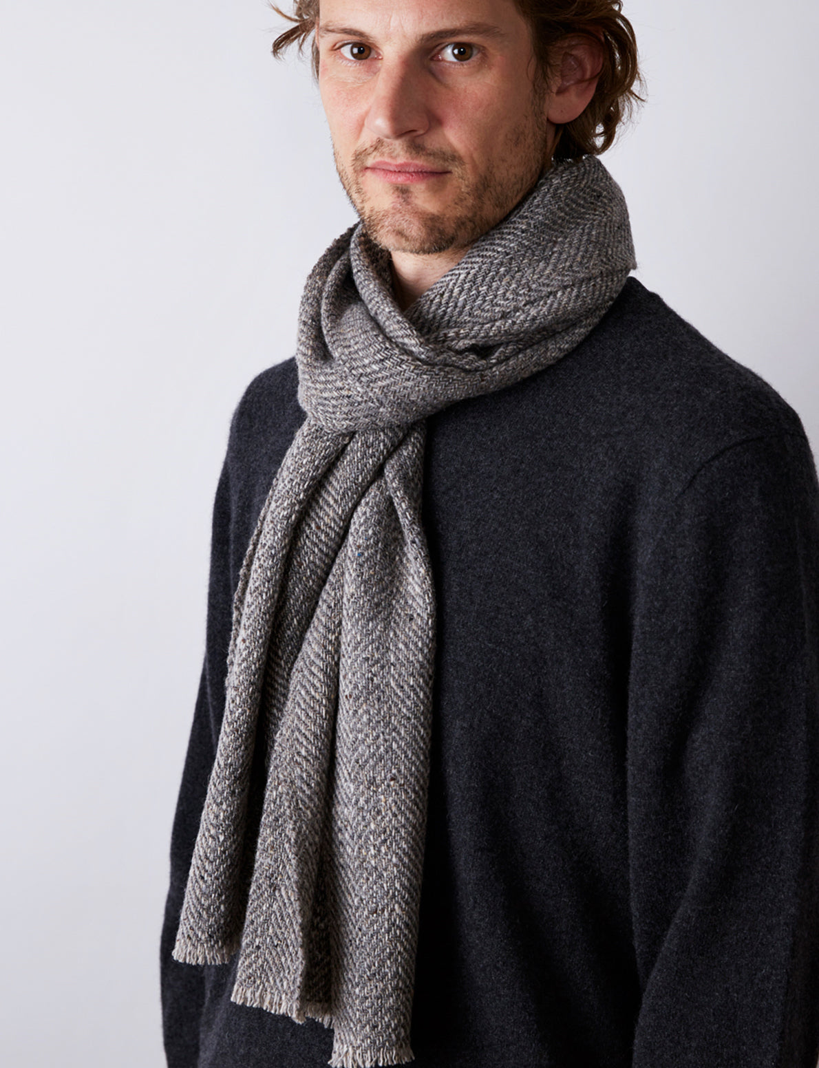Textured Herringbone Scarf - Grey - Narrow