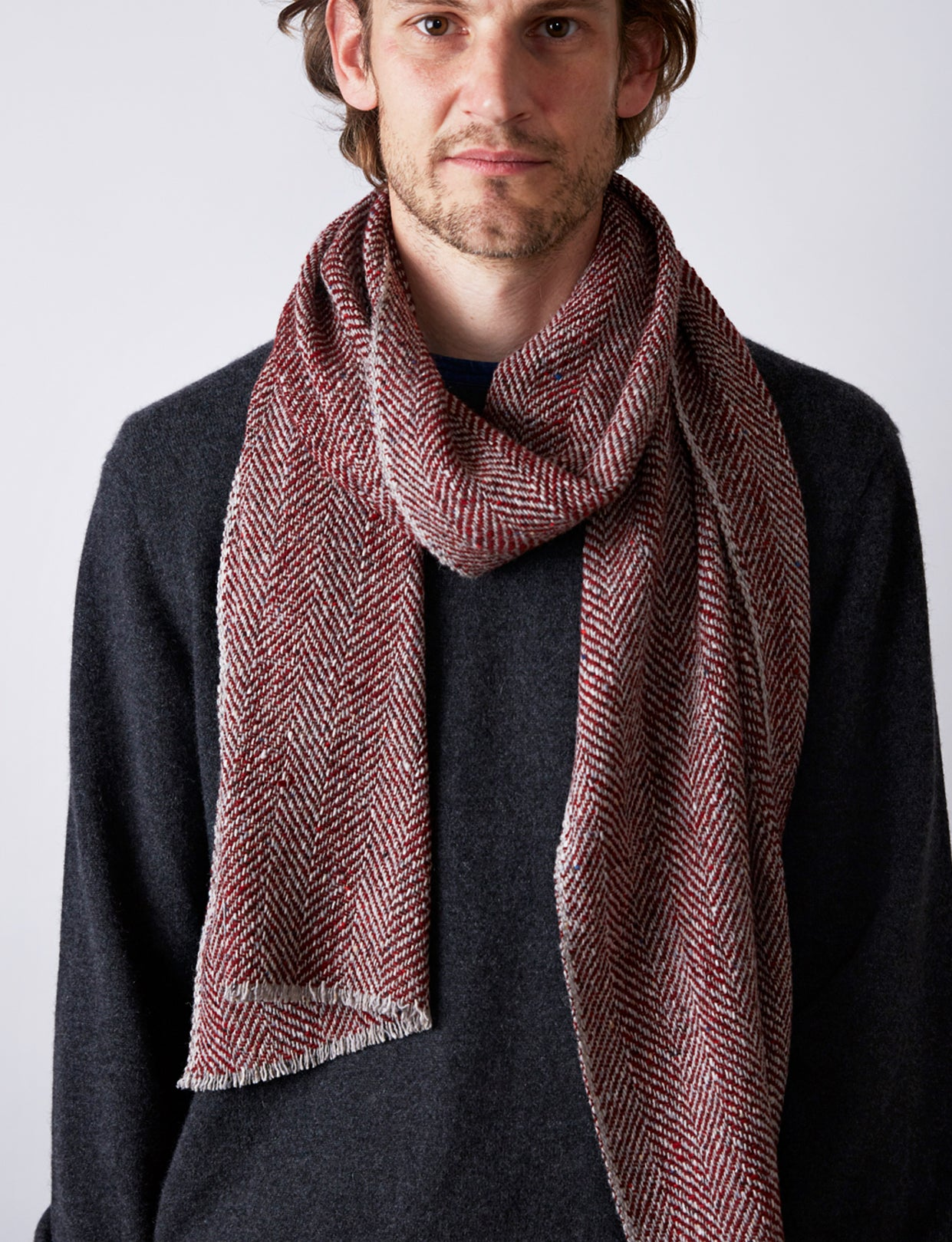 Textured Herringbone Scarf - Red / Grey - Narrow