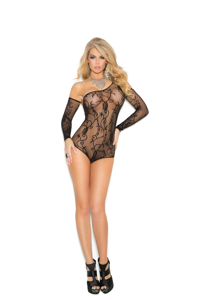 Floral pattern fishnet teddy with one shoulder and matching gloves.