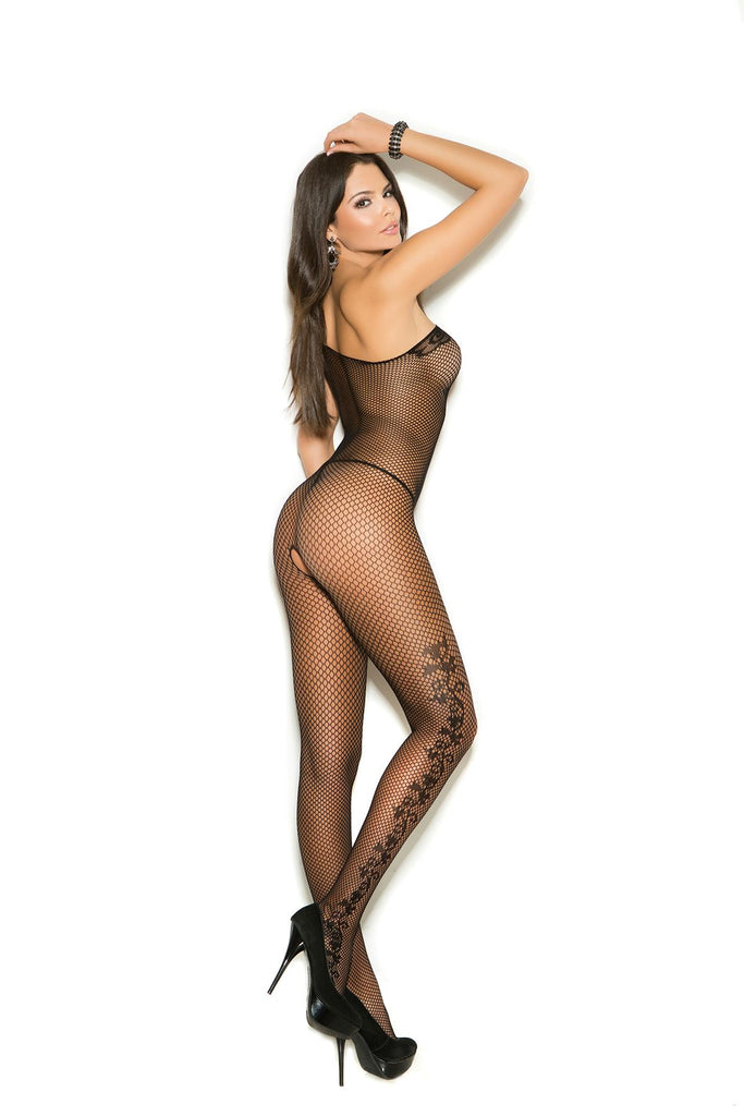 Fishnet bodystocking with floral scroll detail and open crotch.