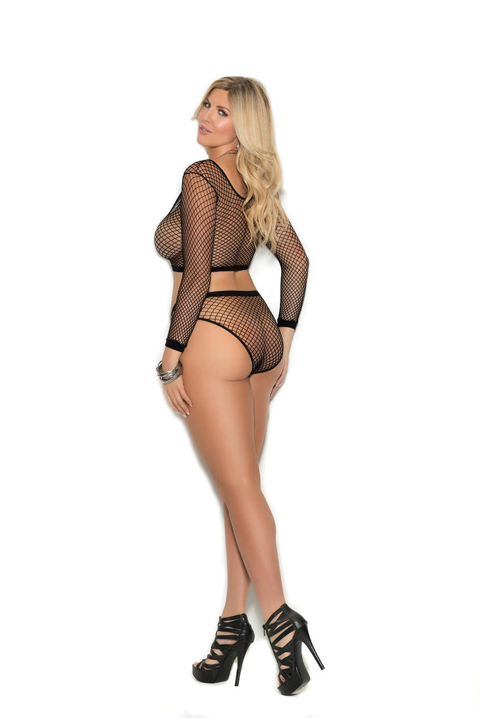 Long sleeve fence net cami top with zip front and matching booty shorts.