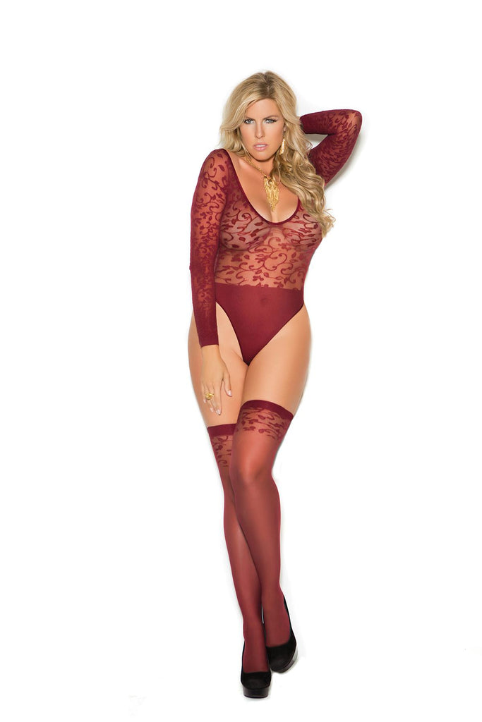 Sheer burnout long sleeve teddy and matching stockings.
