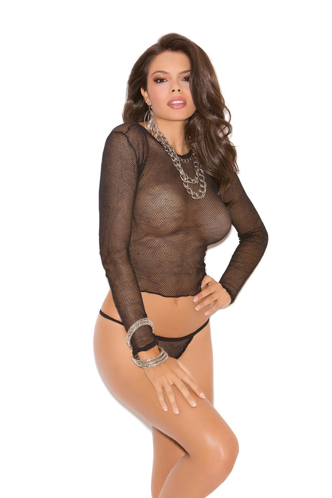 Fishnet long sleeve top with matching g-string.