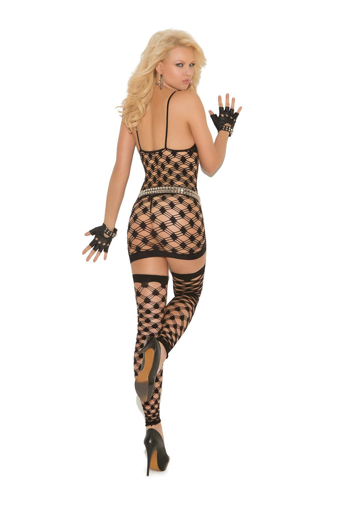 Diamond net halter neck mini dress, g-string and footless thigh hi's.