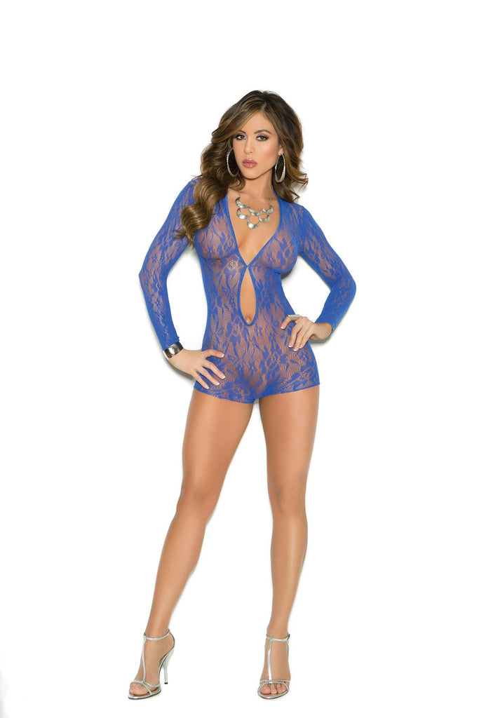 Long sleeve lace romper with keyhole front.
