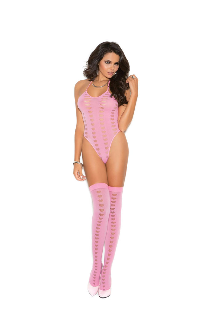 Opaque halter neck teddy and stockings with mesh heart burnout detail.