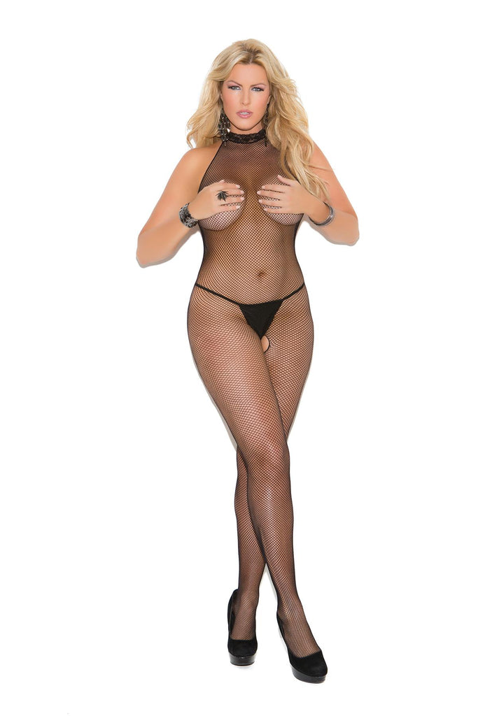 Seamless fishnet halter bodystocking with open crotch.
