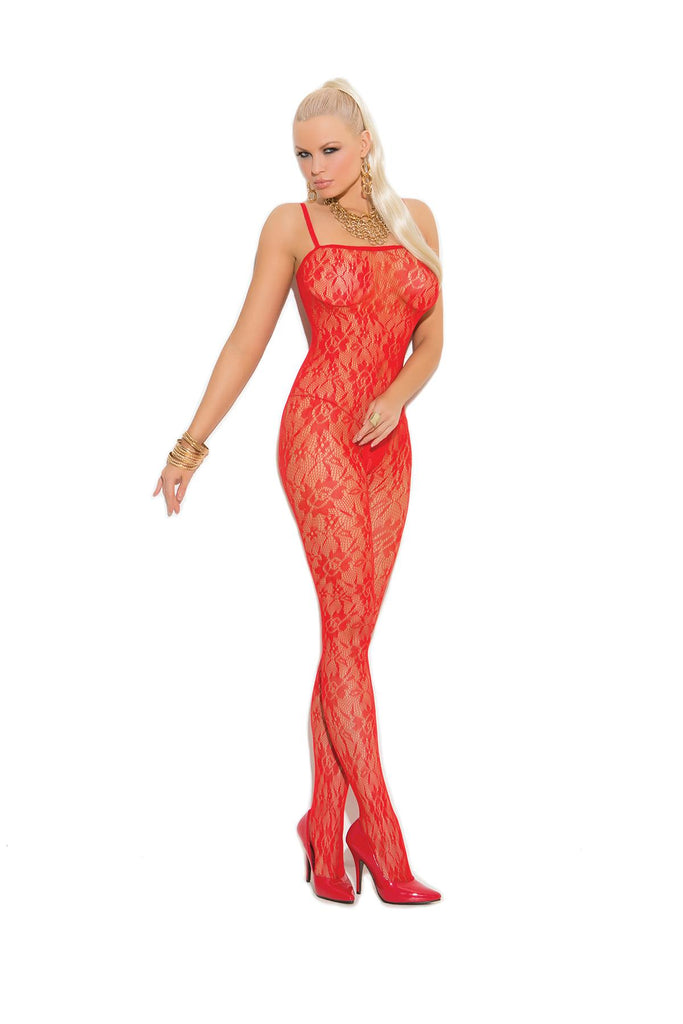 Rose lace bodystocking with open crotch.