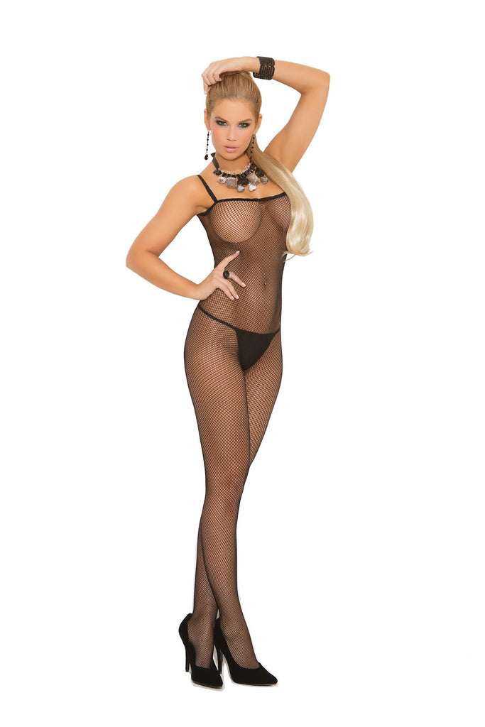 Seamless fishnet criss cross back bodystocking with open crotch.
