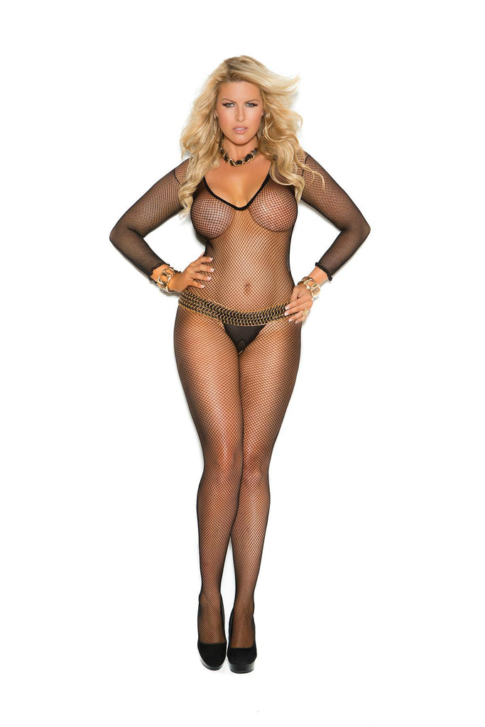 Deep V cut fishnet bodystocking with open crotch.