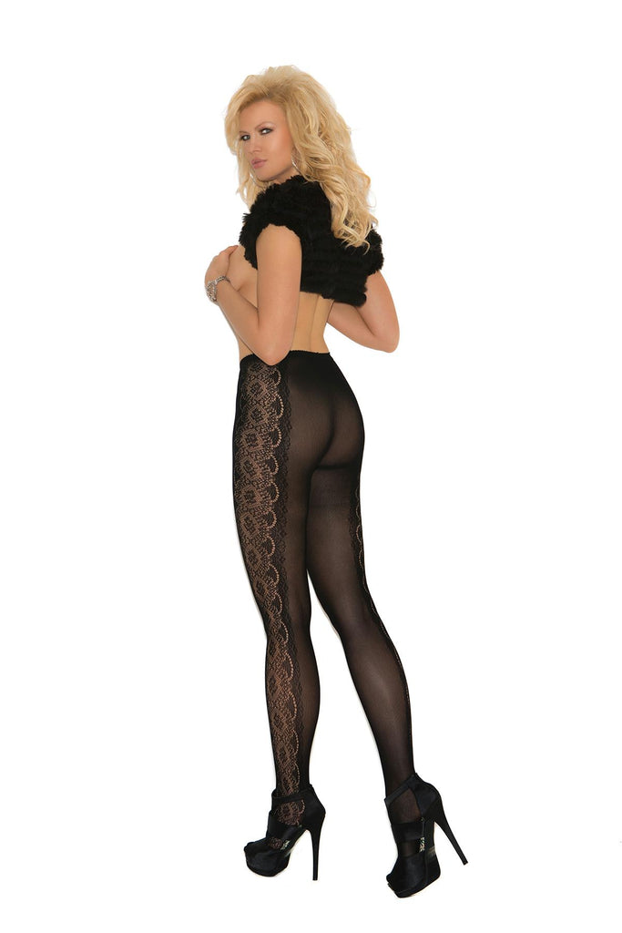 Opaque pantyhose with side floral design.