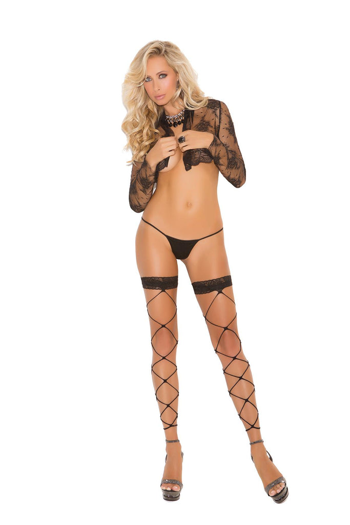 Footless net thigh hi with lace trim.
