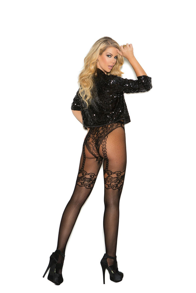 Fishnet and lace crochet pantyhose.