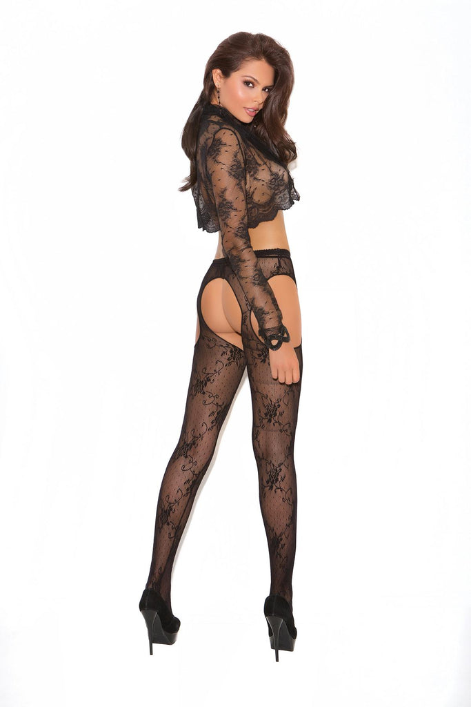 Lace suspender pantyhose.