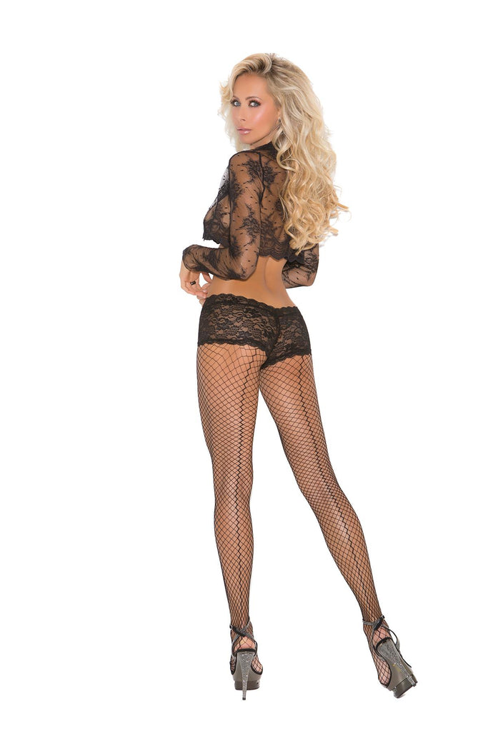 Lycra fence net back seam pantyhose with attached panty.