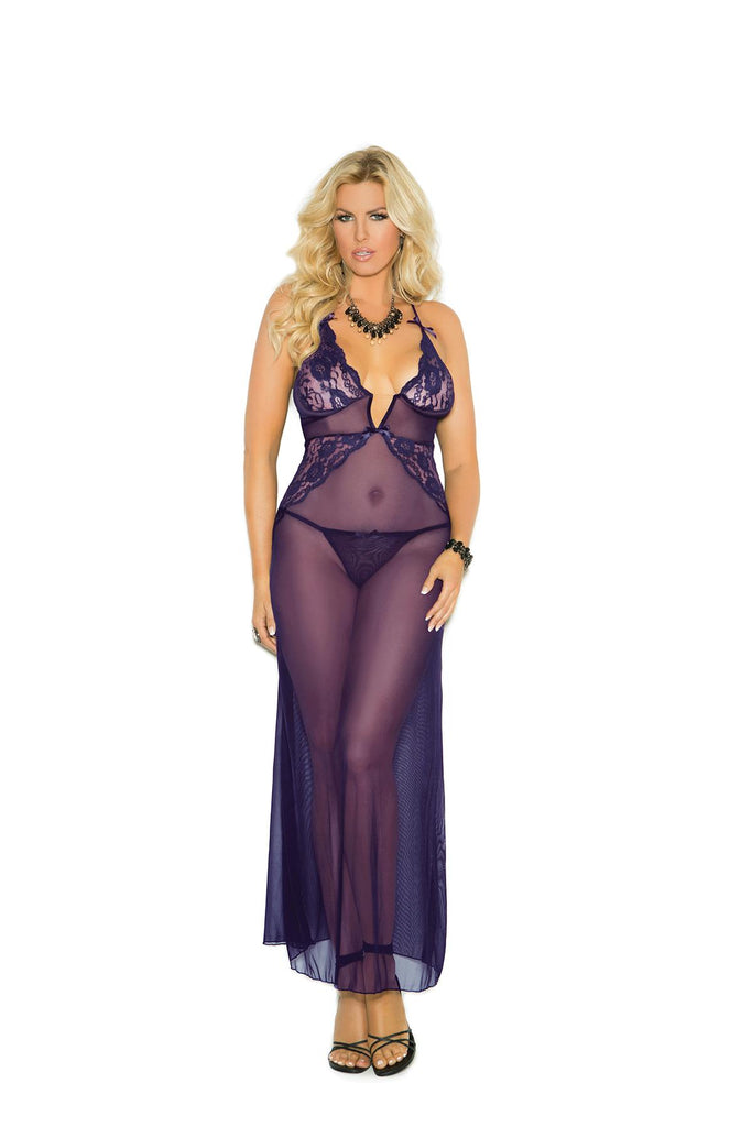 Deep V mesh gown with lace inserts, criss cross adjustable straps and matching g-string.