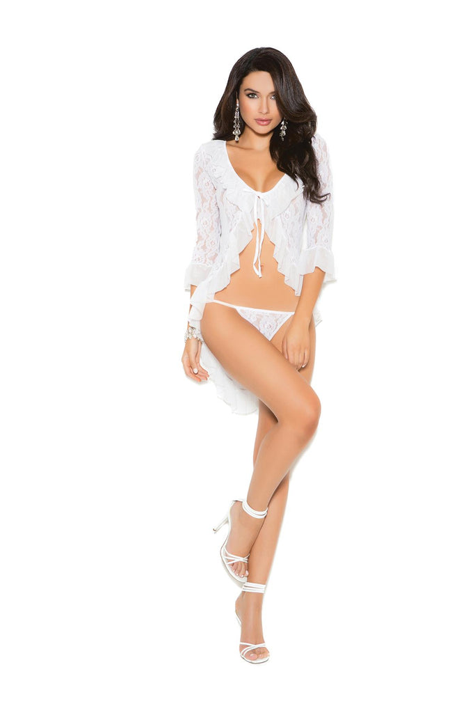 Long sleeve lace jacket and matching g-string.