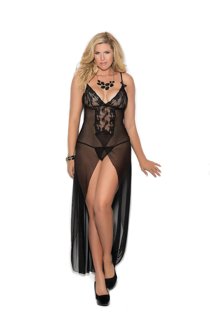 Long mesh gown features front slit, satin bows and front lace panel with lace cups and adjustable straps. Matching mesh g-string included.