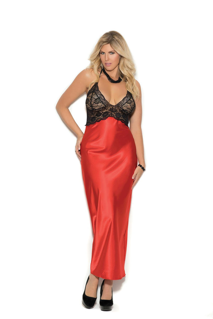 Halter style charmeuse gown with lace bodice.
