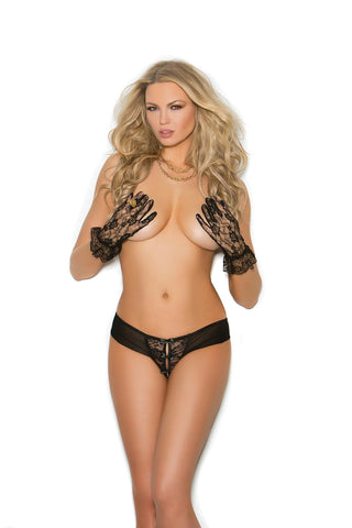 Eyelash lace short sleeve plunge cami top with elastic waist and back satin ribbon tie closure. Matching eyelash lace panty with back ruching.