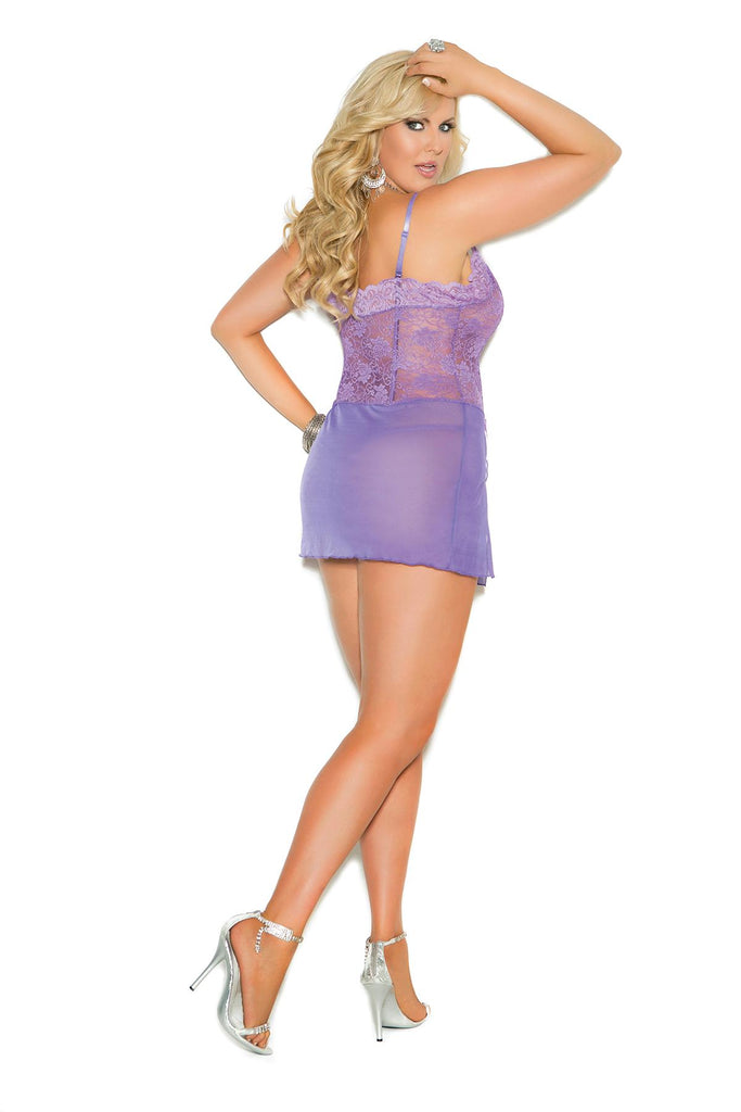 Lace and mesh babydoll with adjustable straps and matching g-string.