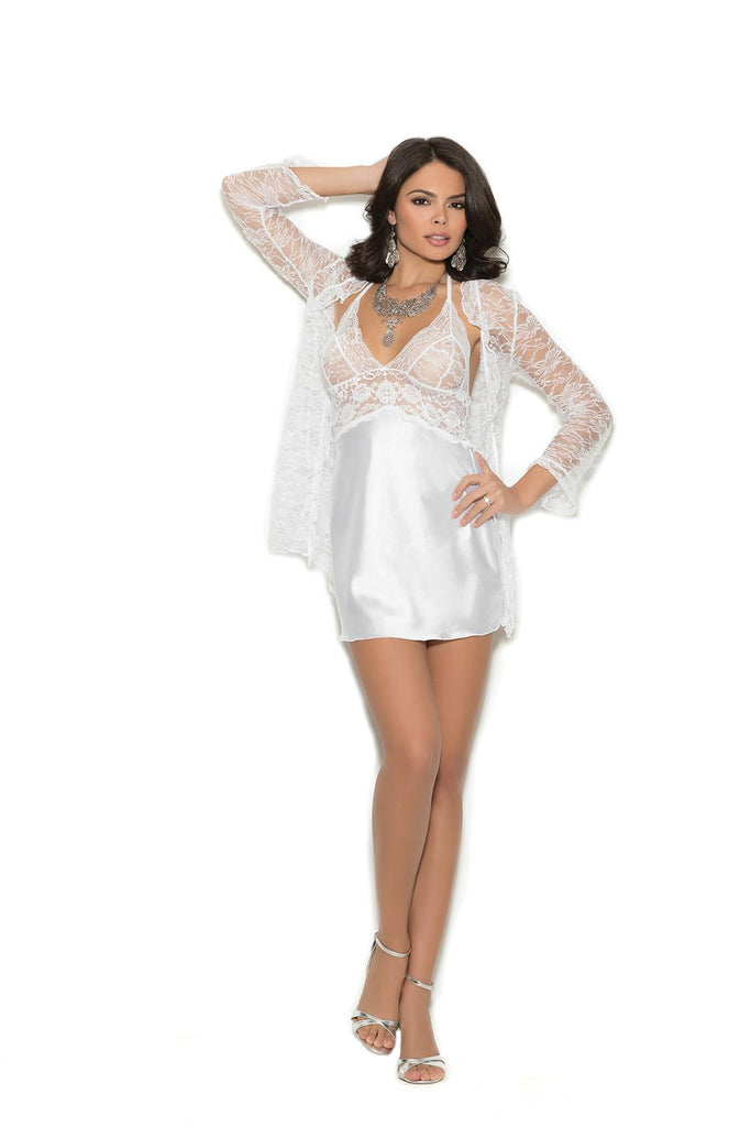 Charmeuse chemise with lace bodice. Matching lace 3/4 sleeve jacket included.