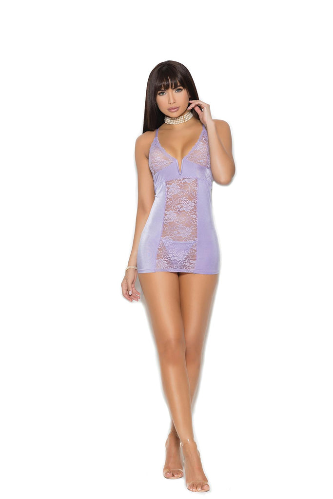 Satin babydoll features floral lace cups, notched V front boning, adjustable straps and back keyhole hook and eye closure. Matching satin g-string included.